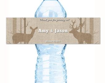 Rustic Birch Trees and Deer Water Bottle Labels, Deer Wedding Water Bottle Labels, Custom Labels, Wedding Welcome Bag, Destination Weddings