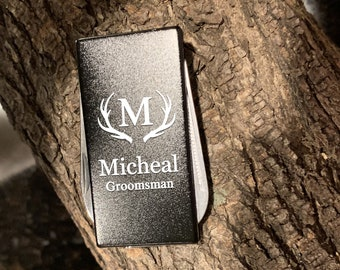Engraved Stainless Steel 3-Tool Black Money Clip Personalized Custom Best Man Gift, Groomsman Gift, Christmas Gift, Gift for Dad, Boyfriend