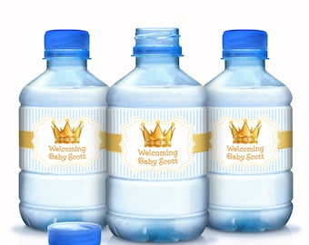 Personalized Golden Welcome Prince Baby Shower Water Bottle Labels - Crown Prince Baby Shower Water Bottle Wrappers - Prince Baby Shower