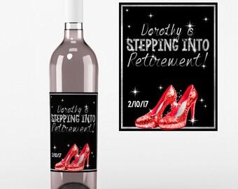 Retirement Wine labels - Retirement Labels - High Heels - Retirement Decor - Retirement Wine Stickers - Retirement Favors