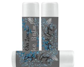 Lip Balm Labels - Personalized Lip Balm Labels - Bridal Shower Lip Balm labels - 1 Sheet of 12 Lip Balm Labels - Winter Lip Balm Labels