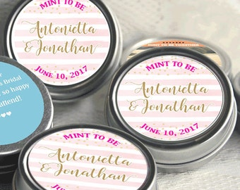 Wedding Decor - 265 Wedding Mint Tins - Wedding Favors - Mint to Be Favors - Wedding Mints - Personalized Tin Mints - Pink Stripes with Gold