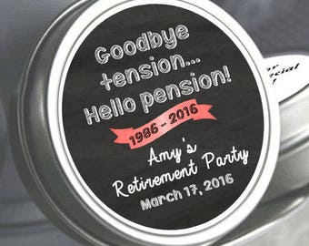 60 Retirement Mint Tins - Goodbye Tension, Hello Pension - RetireMints - Retirement Favors