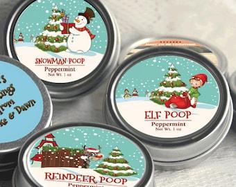 12 Personalized Christmas Mint Favors - Snowman Poop - Elf Poop - Reindeer Poop - Stocking Stuffers, Christmas Party Favor, Christmas Party
