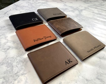 Personalized Men's Wallet, Monogrammed Wallet, Gentleman's Bifold Slim Wallet, Groomsman Gift, Custom Wallet, Gift For Men, Wedding Wallet
