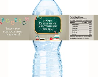 Retirement Teacher Water Bottle Labels - Retirement Labels - Chalkboard Labels - Teachers Appreciation Labels - Happy Retirement