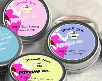 12 Baby Shower Favors - Thank you for popping by - Baby Shower Mint Tins- Baby Shower Favors - Baby Shower Decor - Thank you Favors