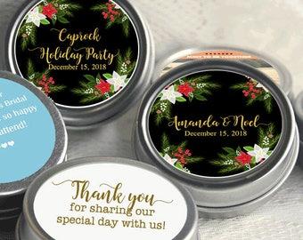 Personalized Tin Mints - 24 Wedding Mint Tins  - Wreath Wedding Favors - Winter Wedding Favors  - Winter Wedding Decor - Poinsettia Favors