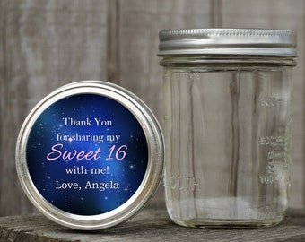 Round Mason Jar Lid Labels - Custom Sweet 16 Favors - Sweet 16 Stickers, Goody Favor Bag, Party Bag Stickers