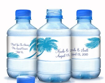 Palm Tree Wedding Water Bottle Labels - 10 Beach Themed Bottle Labels - Beach Themed - Wedding Decor - Bridal Showers, Wedding, Anniversary