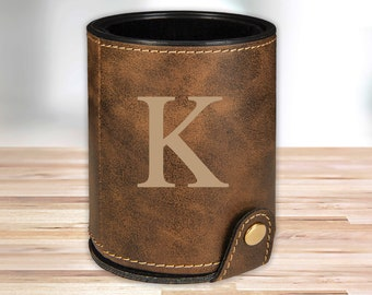 Personalized Leather Dice Cup | Rustic Brown |  Groomsmen Dice Cup | Groomsmen Gifts | Gifts for Dad  | Husband Gift | Gifts for Him