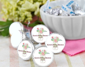 216 Mason Jar Bridal Shower Hershey Kiss® Stickers -  Wedding Kiss Stickers - Candy Labels - Custom Labels - Wedding Favors - Candy Stickers