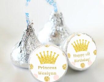 108 Birthday Hershey Kiss® Stickers - Birthday Hershey Kiss Stickers- Gold and Pink Kiss Labels - Hershey Kiss Seals - Princess Stickers