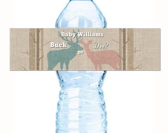 30 Gender Reveal Water Bottle Labels - Buck or Doe ? Gender Reveal Baby Shower Water Bottle labels, Waterproof, baby shower labels