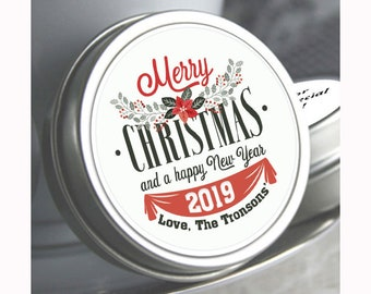 12 Personalized Christmas Mint Tins Favors - Christmas Tin Mints - Christmas Favors - Christmas Party Favors - Merry Christmas Favors