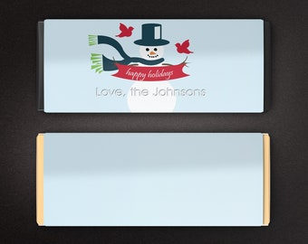 12 Large Personalized Christmas Hershey's Chocolate Wrappers -  Candy Bar Wrappers - Large Candy Wrappers - Snowman
