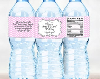 Pink Chevron Personalized Water Bottle Labels - Pink Chevron Wedding Labels - Pink Water Bottle Labels - Wedding Decor - Bridal Shower