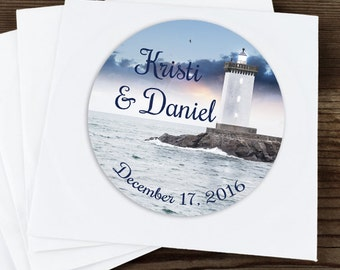 30 Glossy Round Labels - Lighthouse Favor Labels - Lighthouse Stickers - Wedding Favors - Bridal Shower Favors - Lighthouse Favors