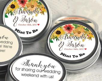 Mint to Be Wedding Favors - Edible Wedding Favor - Breath Mints - Personalized Mint Favors - Fall Wedding Favors - Wedding Mints