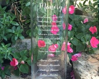 Wedding Memory Memorial Vase - In Loving Memory Vase -Floating Wedding Memorial Candle - Memorial Candle - Engraved Memorial Cylinder