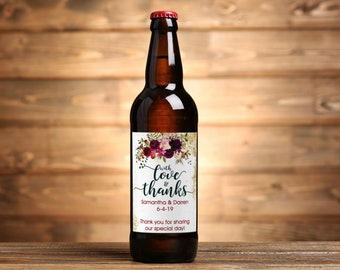 "4"" x 3""  Personalized Beer Bottle  Labels - 30 With Love and Thanks Burgundy Rose Labels - Wedding Favors - Thank You Favors - Bottle Labels"