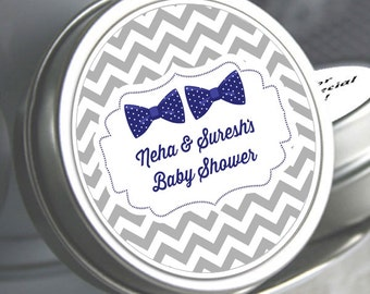 Twins Bow Tie Baby Shower Favors  -Baby Shower Decor - Baby Shower Mints - Baby Shower Candy Favors - Twin Baby Shower