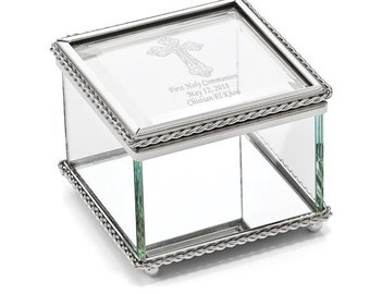 Engravable Glass Jewelry Box, Beaded Trinket Box, Personalized Jewelry Box, Communion, Jewelry Box, Glass Box, Baptism, Confirmation