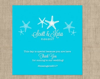 12 Personalized Starfish Large Candy Bar Wrappers - Bridal Shower, Birthday, Wedding, Rehearsal Dinner  - Set of 12