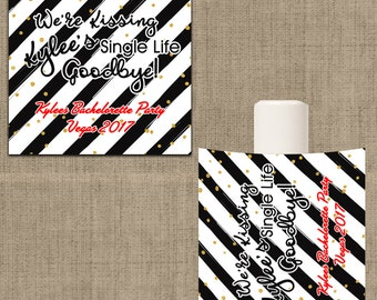 Lip Balm Labels - Personalized Lip Balm Labels - We're Kissing - Single Life Goodbye labels - 1 Sheet of 12 Lip Balm Labels - CustomLabels
