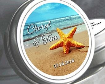 Wedding Favors - 150 Personalized Wedding Mint Tins - Wedding Mints - Mint Favors - Beach Favors - Starfish Favors - Starfish Stickers