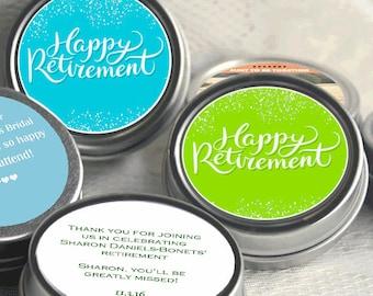 12 Happy Retirement Mint Tins - RetireMints - Photo - Retirement Favors - Retirement Decor - Retirement Mints - Retired Mints