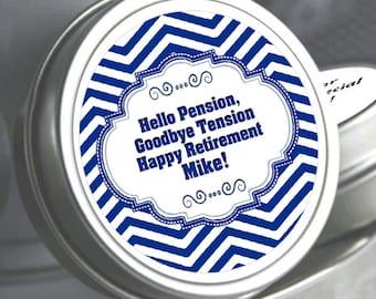 12 Chevron Matinee Style Retirement Mint Tins -RetireMints - Chevron - Retirement Favors - Retirement Decor - Retirement Mints - Retired