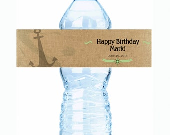 """20 Nautical Anchor Burlap Adult Birthday Water Bottle Labels - Select the quantity you need below in the """"Pricing & Quantity"""" option tab"""