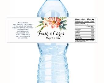 Wedding Water Bottle Labels - Floral Bridal Shower Water Bottle Labels - Floral Custom Labels - Country Chic Bottle Labels - Wedding Decor