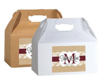 100 4x3  Personalized Burlap and Lace Monogram  Box Labels