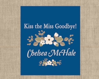Lip Balm Labels - Personalized Lip Balm Labels - Kiss the Miss Goodbye - Wedding - 1 Sheet of 12 Lip Balm Labels - Floral Lip Balm Labels