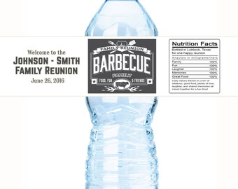 Custom Family Reunion Water Bottle Labels, Barbecue Labels,  30 BBQ Labels for Family Reunions, Family Reunion Labels, BBQ Labels