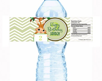 """20 Lets Monkey Around Birthday Water Bottle Labels - Select the quantity you need below in the """"Pricing & Quantity"""" option tab"""