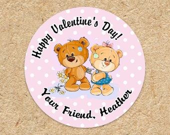 Girls Valentines Day Sticker | Teddy Bear | Valentine Favor Sticker | Treat Labels for School | Class Party | Pink Polka Dot