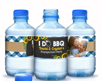 30 Water Bottle Labels, I Do BBQ, Engagement Party Wedding, Bachelorette, Bridal Shower, Personalized Labels - I DO BBQ - Photo