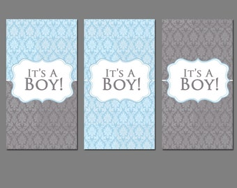 Its A Boy Miniature Chocolate Wrappers Downloadable File