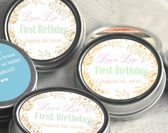 12 Pink and Gold Candy Favors - Pink and Gold Birthday Party Decor - Favor Mint Tins - Blush Pink and Gold 1st Birthday Favor Tins