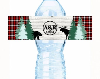 Wedding Water Bottle Label, Water Bottle Label, Personalized Water Bottle Label, Rustic, Monogram Water Bottle Label, Country Water Labels