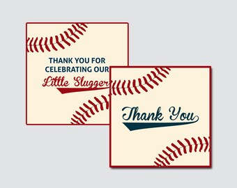Baseball Baby Shower Printable Favor Tag - Baseball Baby Shower Favor Tags Little Slugger, Vintage Baseball Favor Tags