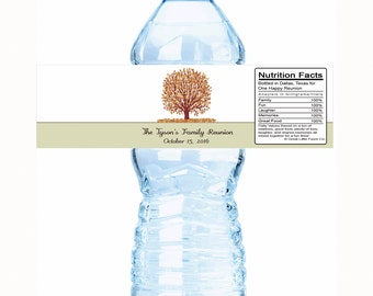 "30 Family Reunion Water Bottle Labels- Select the quantity you need below in the ""Pricing & Quantity"" option tab"