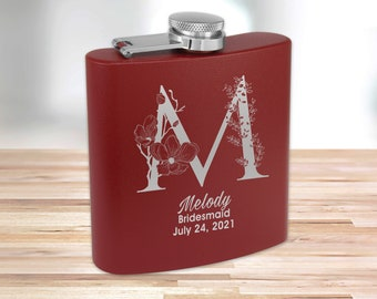 Personalized Matte Burgundy Flask | Custom Flask | Engraved Pink Flask | Birthday Flask | Wedding Party Gift | Bridesmaid Gift