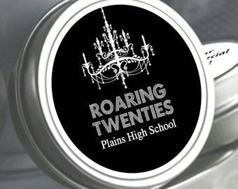 "12 Roaring Twenties Personalized Prom Mint Tin Favors - Select the quantity you need below in the ""Pricing & Quantity"" option tab"