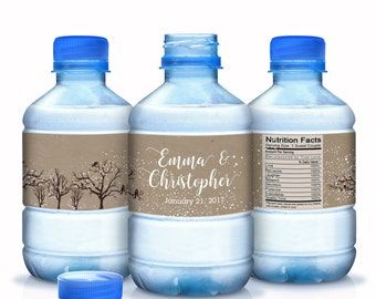 Wedding Water Bottle Labels, Personalized Water Bottle Labels, 30 Waterproof Label, Bridal Shower Labels, Welcome Bags, Winter Wedding Decor