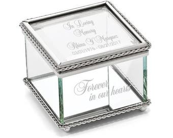 Engravable Glass Jewelry Box, Beaded Trinket Box, Personalized Jewelry Box, Personalized Glass, Glass Box, In Loving Memory, Memorial Box