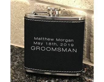 Personalized 6 oz. Bridal Party Black Leatherette Stainless Steel Flask - Groomsman Flask - Black Flask -  Best Man Flask